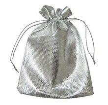 100 unids 11*16 cm bolso de lazo bolsas de mujer de la vendimia de Plata para Wed/Partido/de La Joyería/de la Navidad/bolsa de Envasado Bolsa de regalo hecho a mano diy