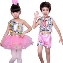 Girl Boy Jazz Dance Latin Ballet Costume Sequin Children Modern Puff Skirt Performance
