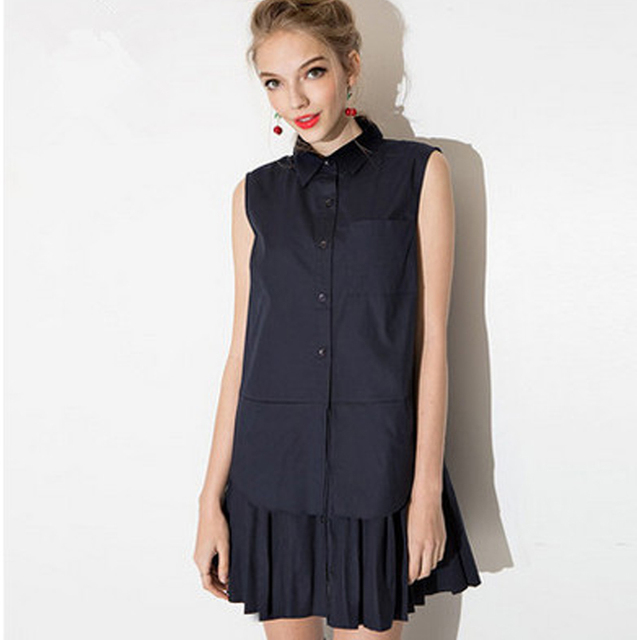 8e85c440a24 2016 Summer Fake Two-piece Dress Turn-down Collar Blouse Dress Preppy Style  Sleeveless Straight Dress Navy Blue Pleated Dresses