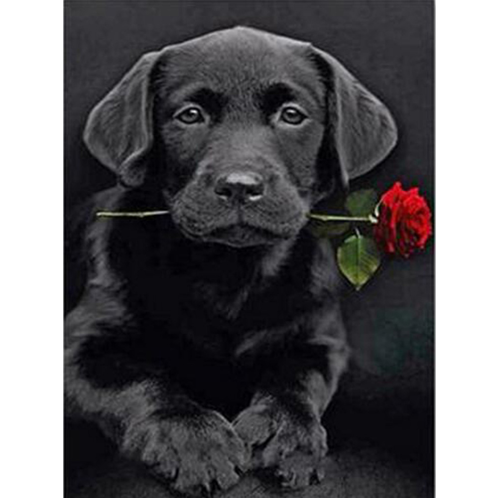 5D Animal Diamond Embroidery diy diamond painting dog and roses Europe Home decoration square drill cross stitch kits mural Y995