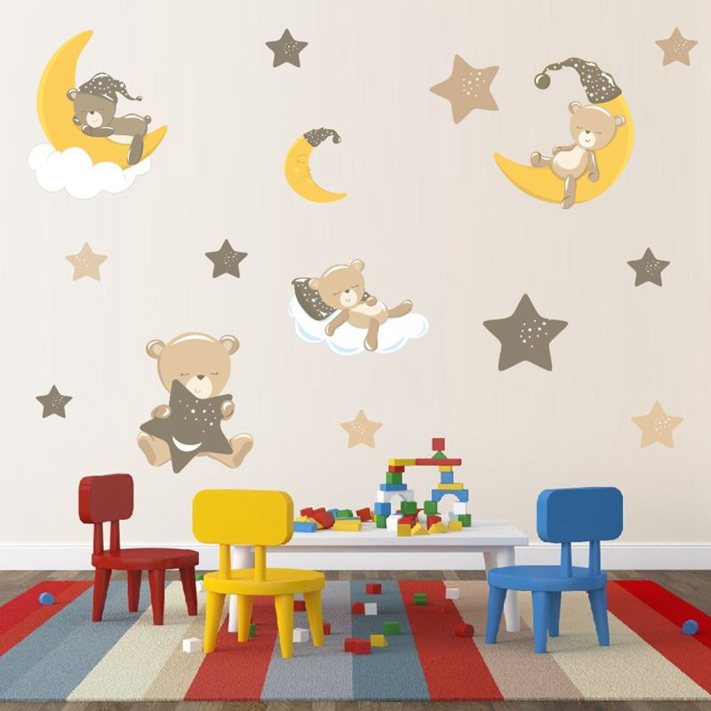 Diy Lovely Bear Kids Room Decoration Wall Sticker Cartoon Animal Painting For Baby Room Pictures For Children Rooms Wall Art Wall Stickers Aliexpress