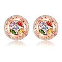 GR.NERH Rose Gold Color Bijoux Fashion Earring Multicolor Crystal Inlay Jewelry For Women As Chirstmas Gift