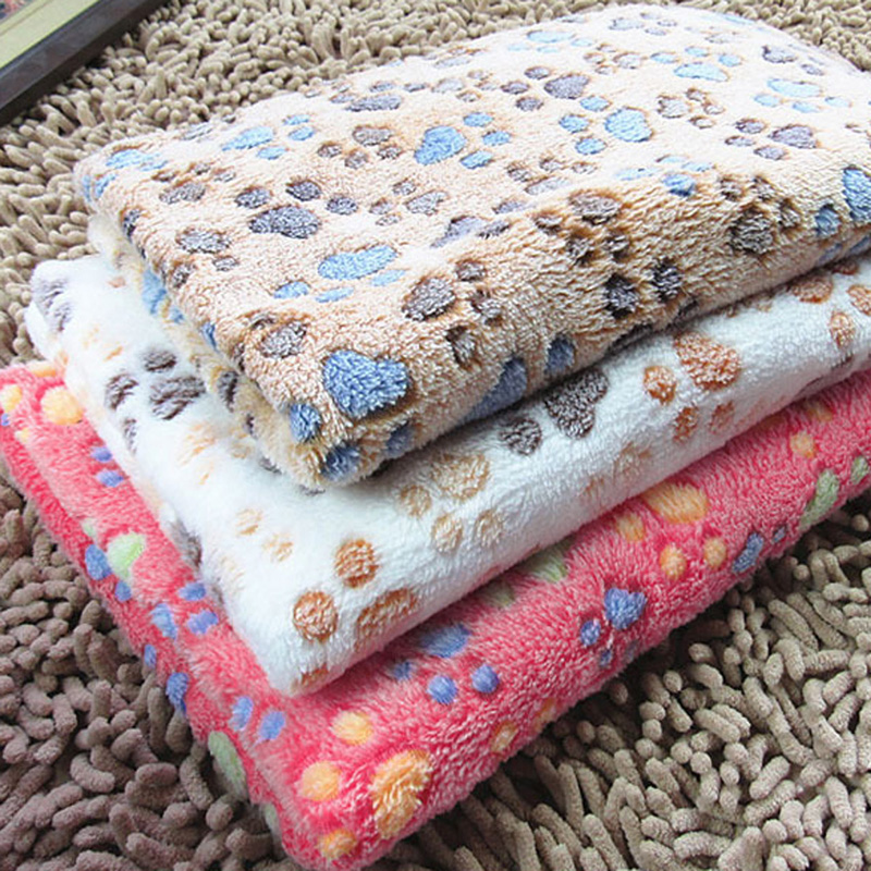 Coral Fleece Pet Blanket Soft Touch Winter Warm Dogs Cat  Bed  Footprints Blanket Mat Pad Bed For Dogs 60x40cm / 20x20cm