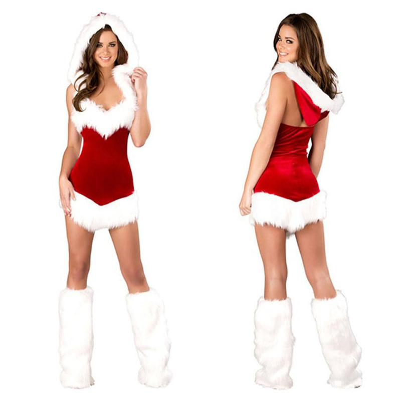 <font><b>Women</b></font> <font><b>Sexy</b></font> Christmas Festival Cosplay Costumes Female Pure Red Corduroy <font><b>Halloween</b></font> Uniform Role Playing for <font><b>Adult</b></font> Santa Clause image