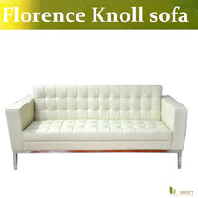 U-BEST Incredible Modern Design office Sofas with beige colored leather sofa and stainless steel metal base frames.