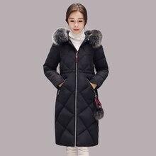 fbd298c1ebb Jaqueta feminina хлопок пальто меховой воротник теплый emagrecer серебро зимняя  куртка стеганая кокон парка женщин манто