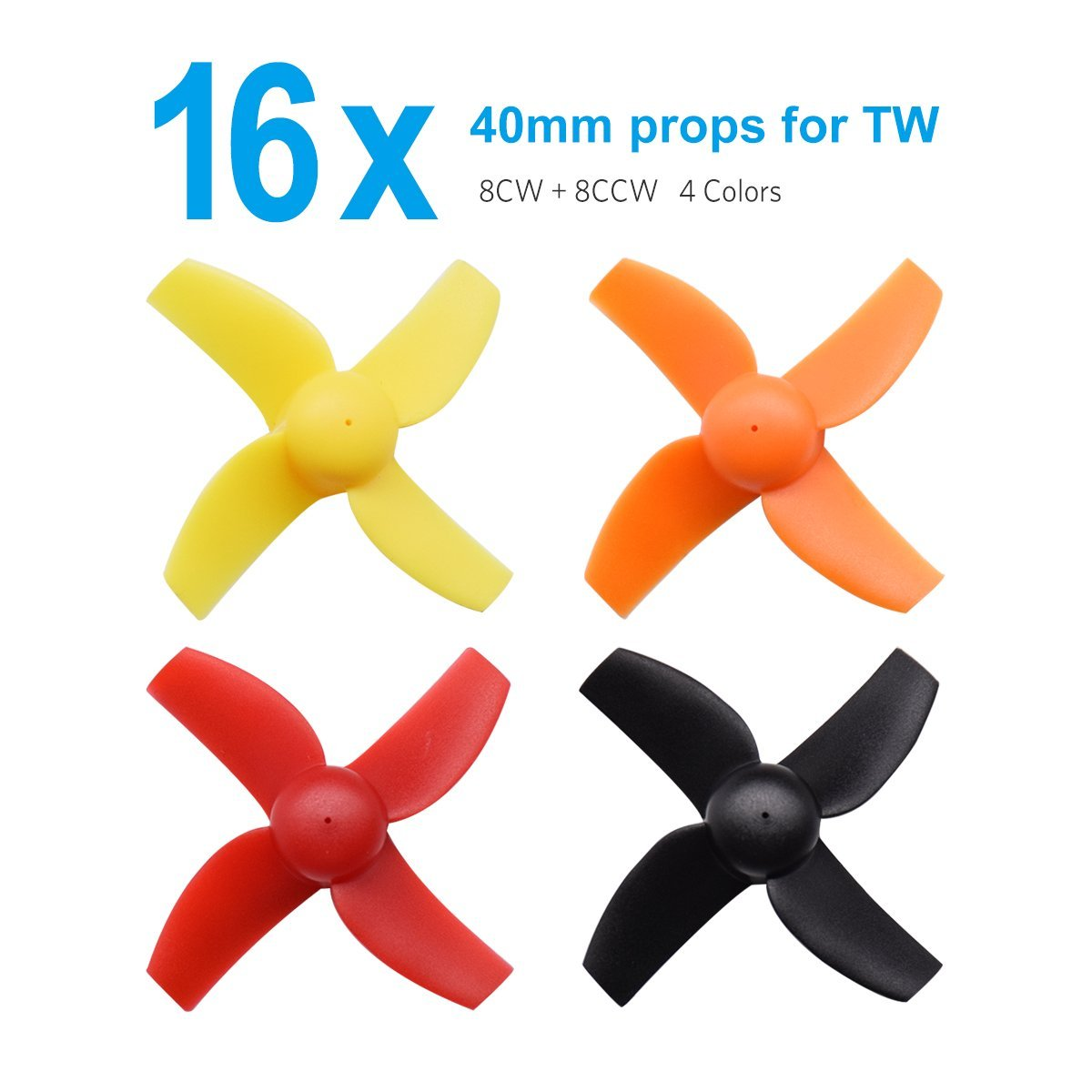 16pcs 40mm 4-blade Micro Whoop Propellers with 1.0mm Shaft for Inductrix FPV Plus Kingkong Tiny 7 etc квадрокоптер blade inductrix fpv blh8500