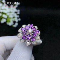 Natural Amethyst Rings for Women Anniversary Party Gifts More Genuine gemstons Fine jewelry Customized 925 Sterling Silver #645