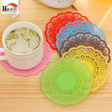 1 pcs Elegant translucent lace cup mat Silicone Round non-slip Heat Resistant Mat Coaster Placemat Pot Holder Coffee Table Pad(China)