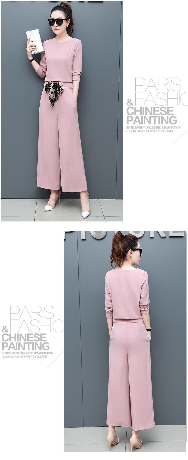 Chiffon 2 Piece Set Women Long Sleeve Tops And Wide Leg Pants Trousers Set Suits Spring Autumn Casual Office Elegant Women's Set 13