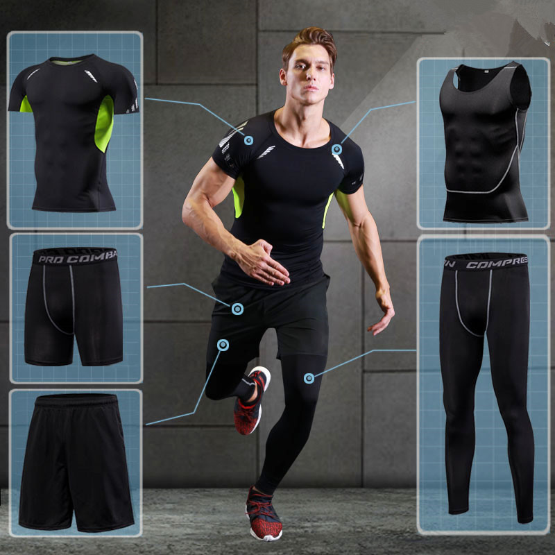 2017 Running Sets Men Sports Suit Breathable Basketball Sport Compression Underwear Quick Dry Fit Gym Training Suit 5 pieces/set 2017 compression 5pcs men fitness clothing sets quick dry sports running suit hood basketball soccer gym training jogging suits