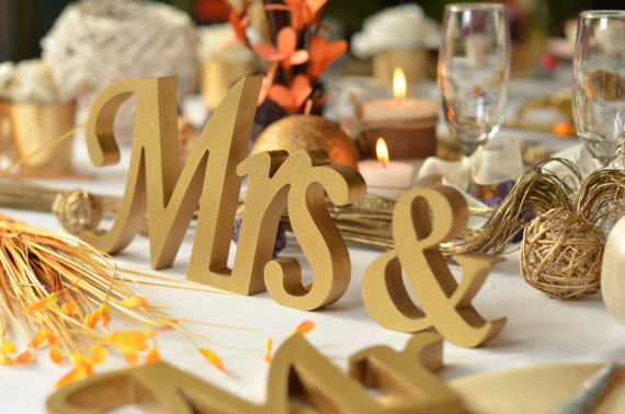 Free Shipping Gold Glitter Mr. & Mrs. Letters Wedding