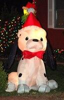 2,1 м/7 ftHigh освещенные надувные рождественские декорации собака Надувное Рождественское украшение собака с Санта шляпе для украшение для сад