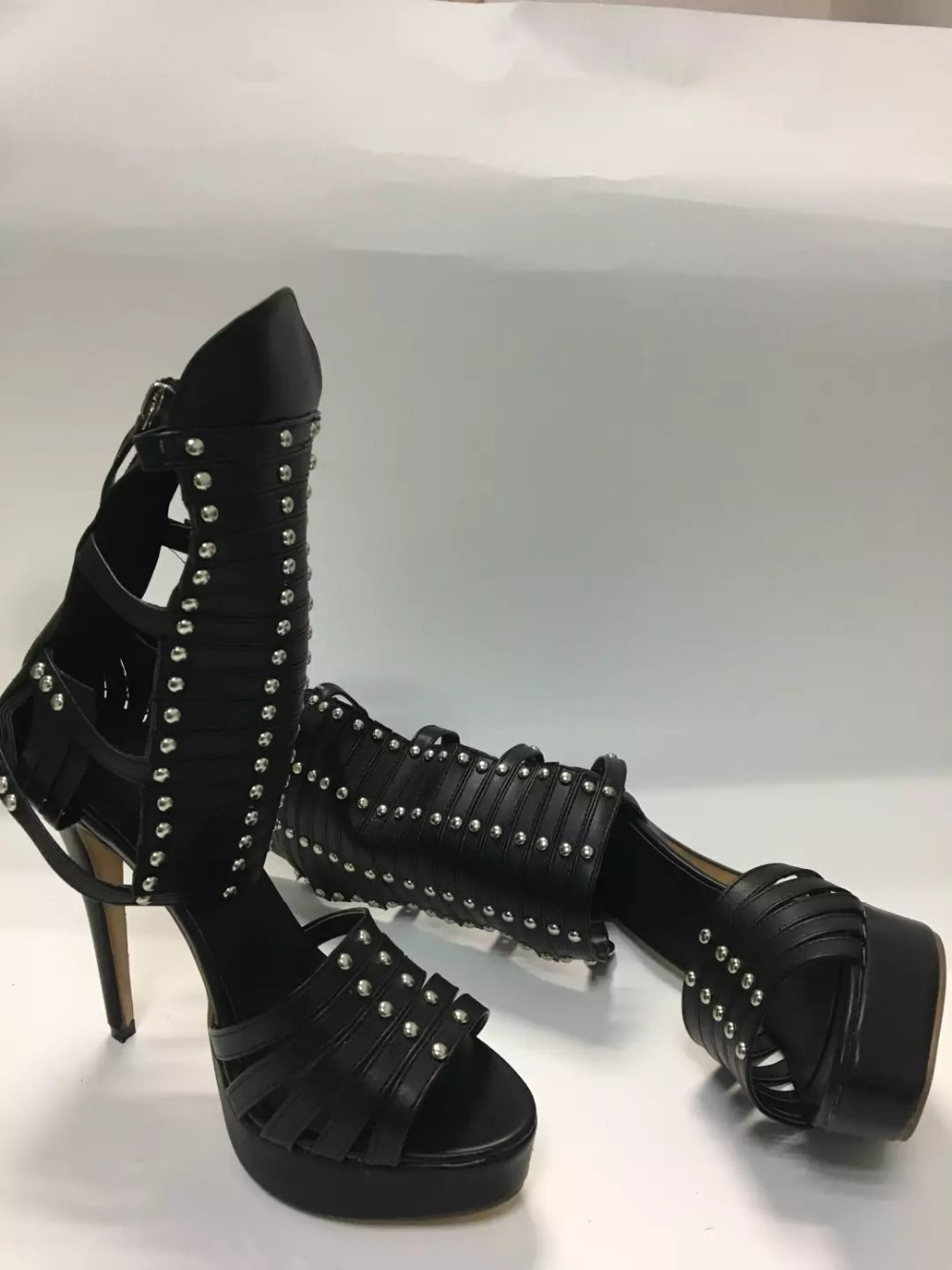 real picture 2017 summer women shoes black platform high heels sandals women rivet gladiator sandal boots zipper ladies shoes real photo black and nude patent leather women sandals stilettos high heels no ps ol ladies sandal shoes new 2016 sandal shoes