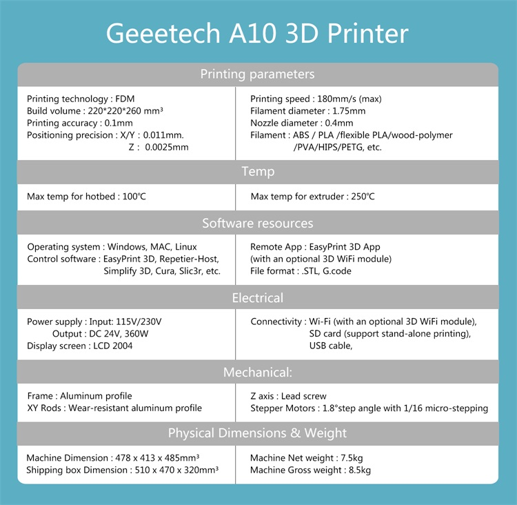 Hot Sale] Geeetech A10 / A10M /A30/A20/A20M 3d Printer Fast Assembly