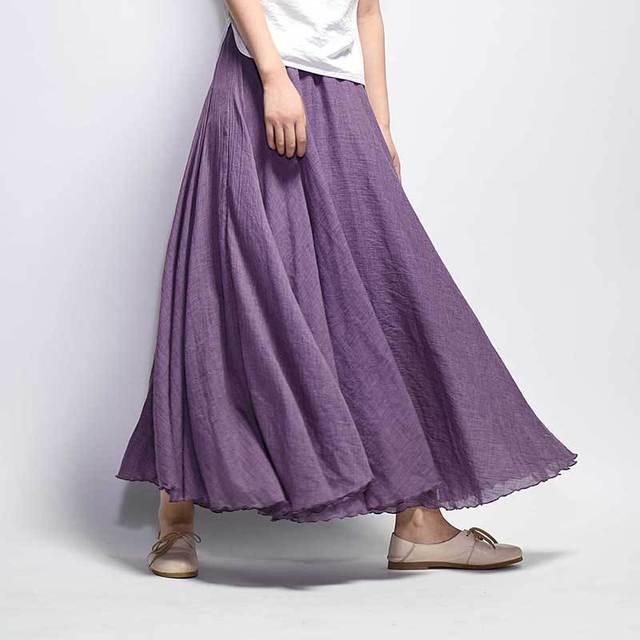 Vintage Cotton Linen Maxi Skirt