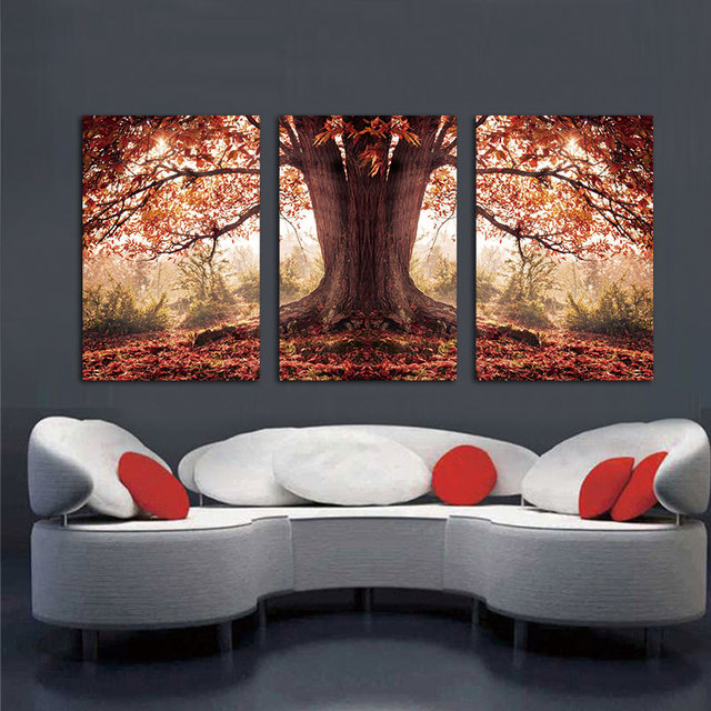 3 Panel Red Autumnal Leaves Home Decorative Canvas Painting Living Room  Wall Art Picture Paint On Part 5