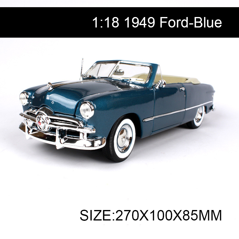 1:18 diecast Car 1949 Convertible Classic Cars 1:18 Alloy Car Metal Vehicle Collectible Models toys For Gift Collection 1 18 scale maisto classic children 1956 chrysler 300b antique vintage car metal diecast vehicle gift model kids toys collectible