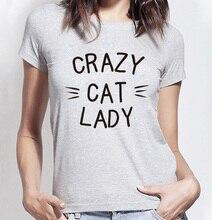 2016 kawaii CRAZY CAT ЛЕДИ Печатных майка Женщин harajuku смешно Хлопка топы тис летняя мода марка панк тонкий женский футболка