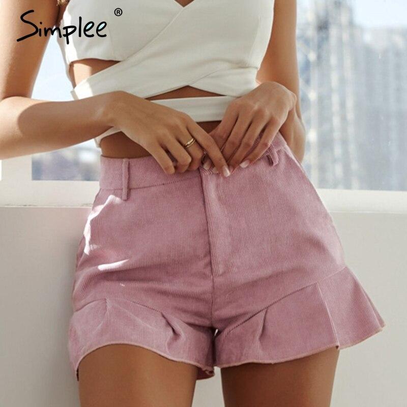 Simplee Casual corduroy women plus size   shorts   2019 Summer ruffled zipper female   short   pants Sexy streetwear holiday pink   shorts