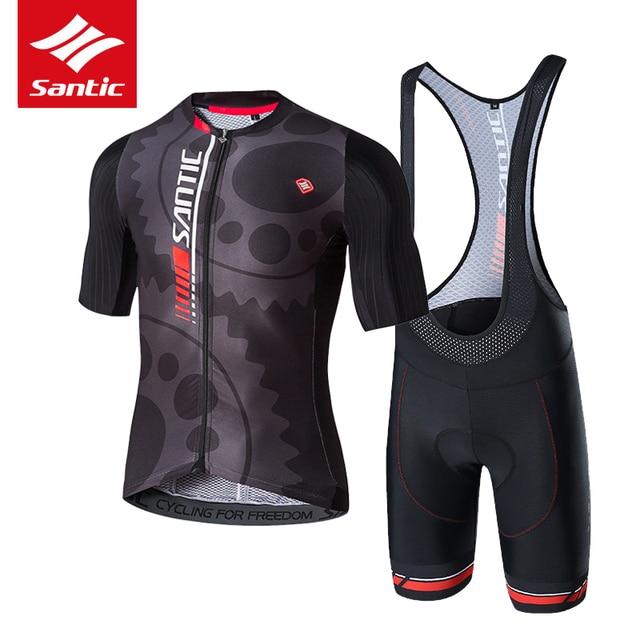 Santic Cycling Jersey Set Men Triathlon Tour de France Cycling Skinsuit 2019 Pro Team Bike Bicycle Clothing Set Ropa Ciclismo