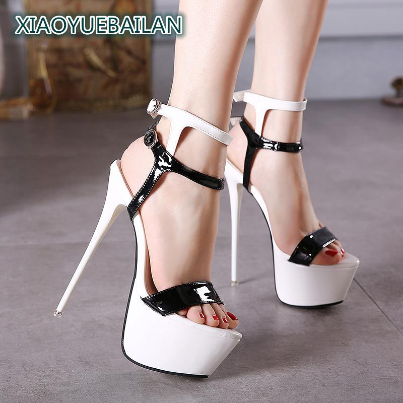 <font><b>17cm</b></font> Super <font><b>Heels</b></font> Sandals, Fine Fish Mouth Shoes, Summer Clubs, <font><b>Sexy</b></font> Buckle, Nude Women Shoes image