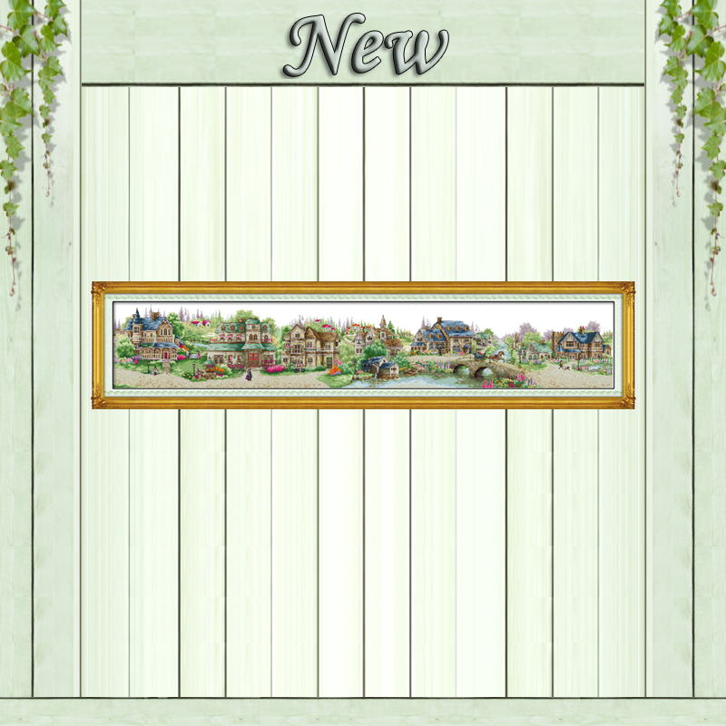 European Town,Counted Printed On The Canvas DMC 11CT 14CT Cross Stitch Kits,needlework Sets Embroidery,Big Size Village Scenery