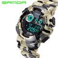Санда известные бренды камуфляж армии военные часы из светодиодов цифровой 30 м водонепроницаемый спорт на открытом воздухе часы мужская мода наручные часы