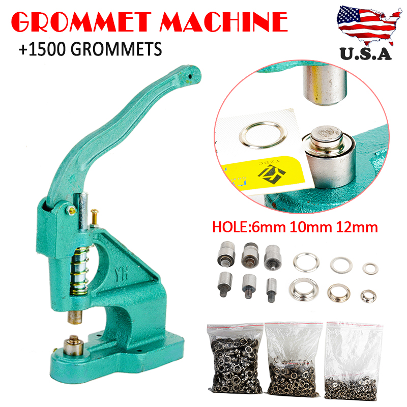 Professional Grommets Machine With 3 Dies And 1500pcs Grommets 6/10/12mm Hand Press Grommet Eyelet Machine Kit Eyelets