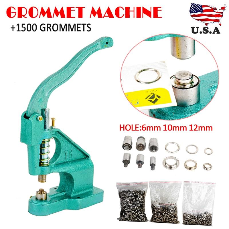 Manual Rivet Machine with Manual Rivet Press and Manual Rivet Press with 3 Dies and 1500 Eyelets 6 mm//10 mm//12 mm