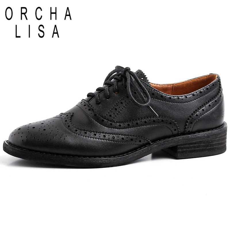 ORCHA LISA/Женская обувь из коровьей кожи с перекрестной шнуровкой, с круглым носком, с перфорацией типа «броги», со шнуровкой, на плоской подошве; Цвет Черный; сезон весна-лето; для офиса; C1138