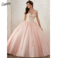 Embroidery Quinceanera Dresses 2019 Beadings Crystal Tulle Dresses 15 year old Debutante Sweetheart neck Vestidos De 15 Anos