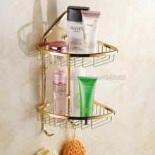 Bathroom Shelves Golden Brass 2 Tiers Corner Shelf Shower Caddy Storage Shampoo Basket Wall Kitchen Corner Sticky Holder Kba098 10pcs lot ds21554 ds21554lb qfp new original in stock
