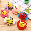 Printed Flowers Cartoon Animals Gyroscopes Small Wooden Spinning Tops Boys Girls Classic Toys For Kids Birthday Gifts 6pcs/Set
