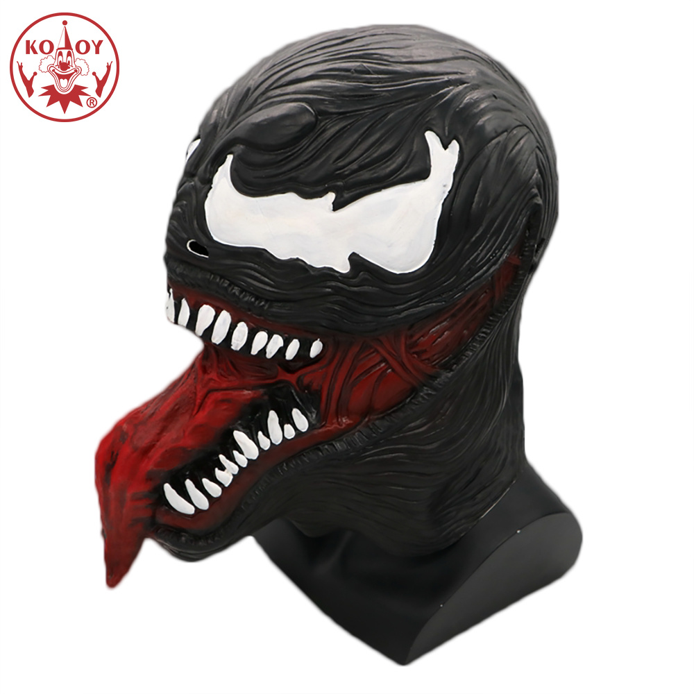 Purim Cosplay The Venom Spiderman Mask Cosplay Black SpiderMan Edward Brock Superhero Unisex High Latex Masks Halloween Party