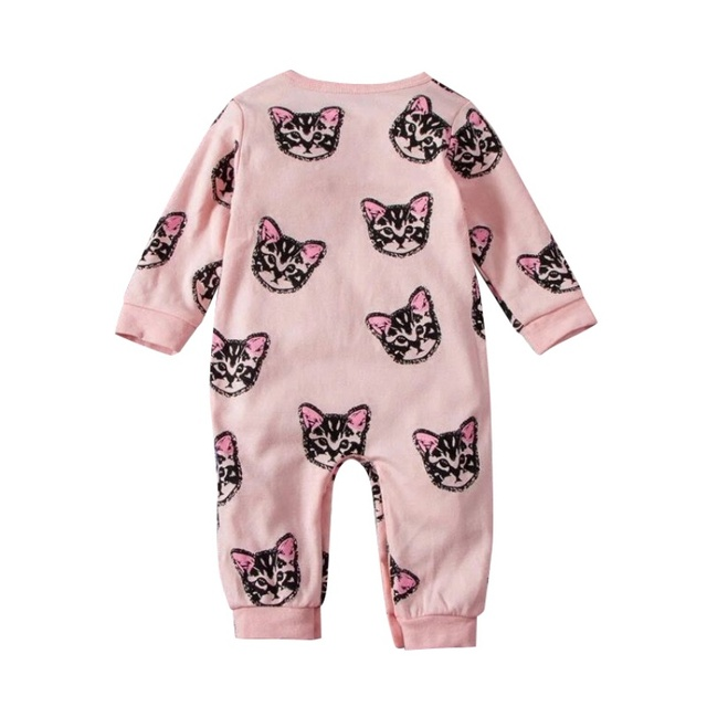 pink spring autumn baby feeding clothes kids cute cat jeans children s cotton bodysuits soft jumpsuit clothes