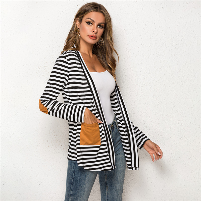 Summer Autumn Coats Womens Jacket Long Sleeve Striped Cardigan Long Coat Loose Cloak Jacket Thin Slim Fit Outerwear