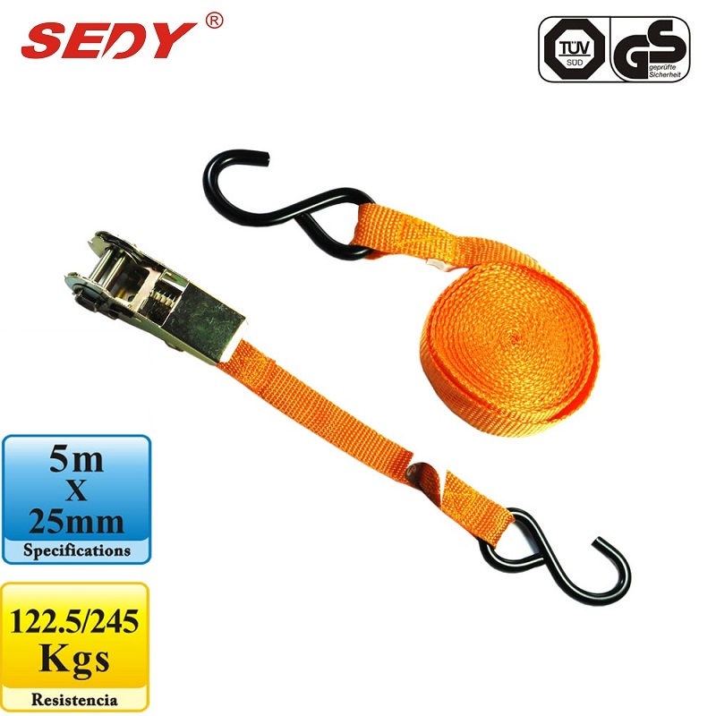 SEDY Cambuckle Tie Down Straps 5m x 25mm Ratchet Strap Retractable Adjustable Belt Ropes Cord 97102 tie down straps 5m x 25mm ratchet strap retractable adjustable belt ropes cord