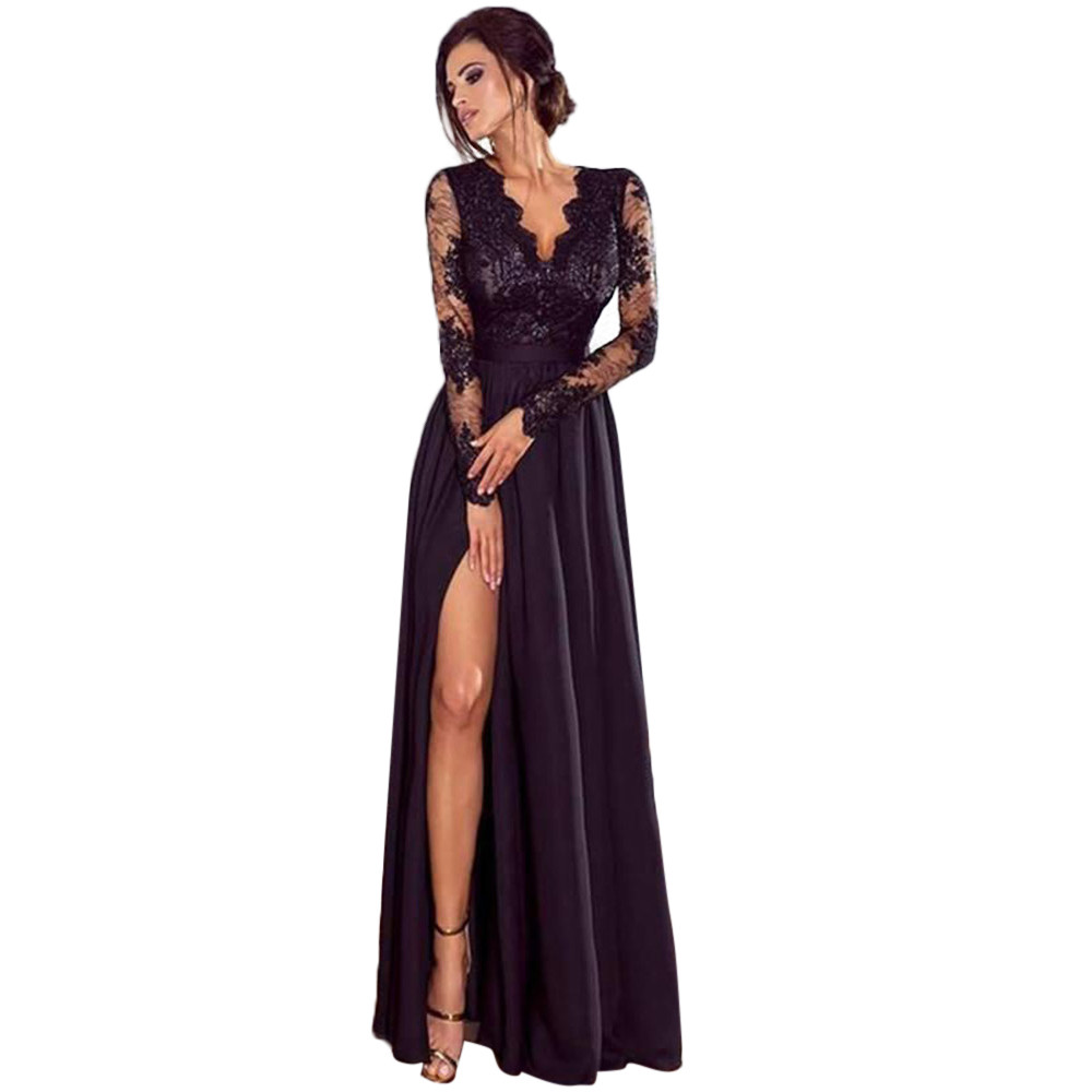 Women's Clothing Energetic Women Deep V-neck Lace Evening Party Prom Wedding Long Dress Side Split Ladies Sexy Maxi Long Dress Autumn Dress For Women