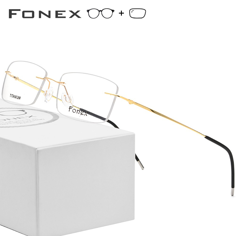 db6f4ca269 Gafas graduadas de aleación de titanio sin montura para hombre montura  óptica de miopía sin marco para mujer