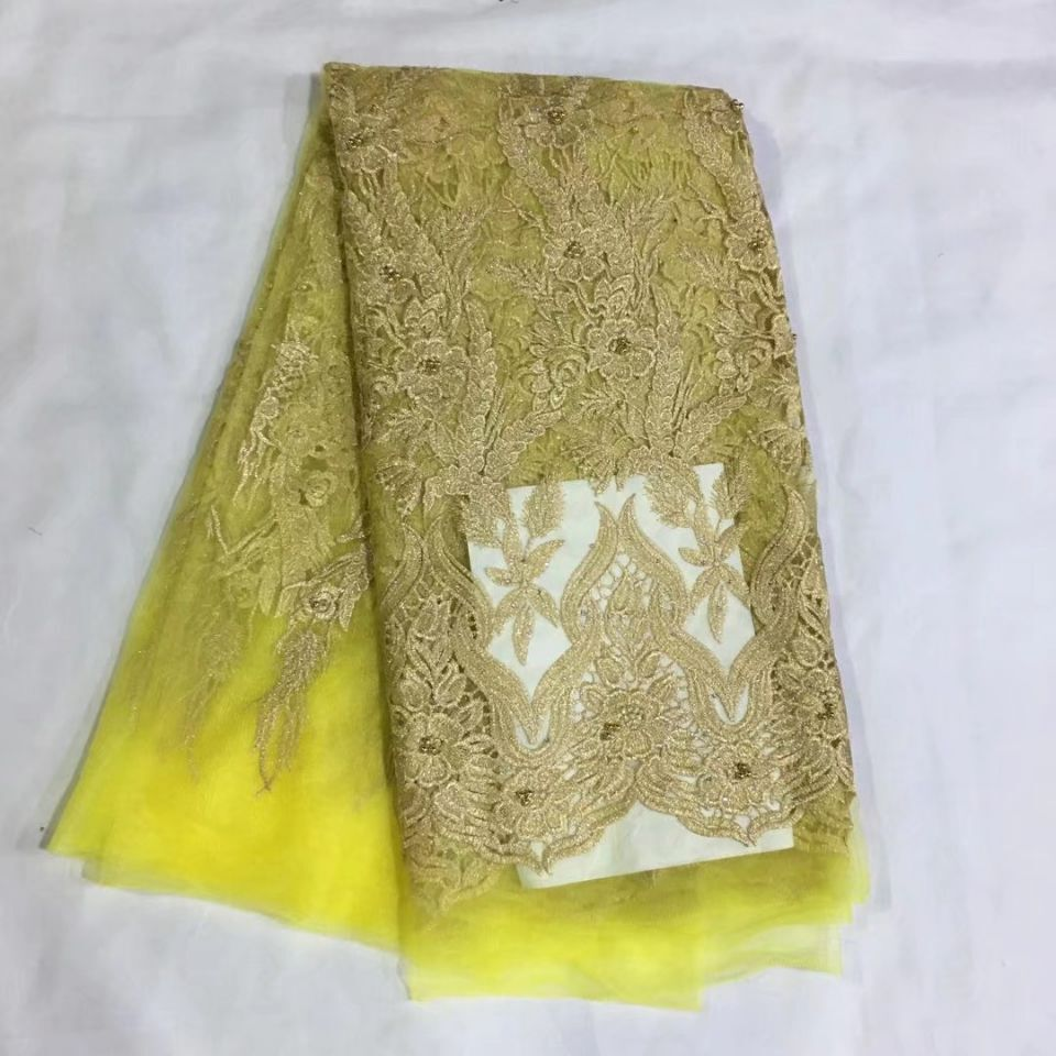 5 Yards/pc Beautiful yellow french net lace fabric with beads and gold embroidery african mesh lace for dress HS8-<font><b>13</b></font> image