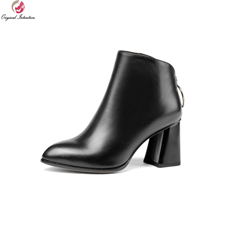 Фотография Original Intention Elegant Women Ankle Boots Cow Leather Sexy Round Toe Square Heels Boots Black Red Shoes Woman US Size 3-10.5