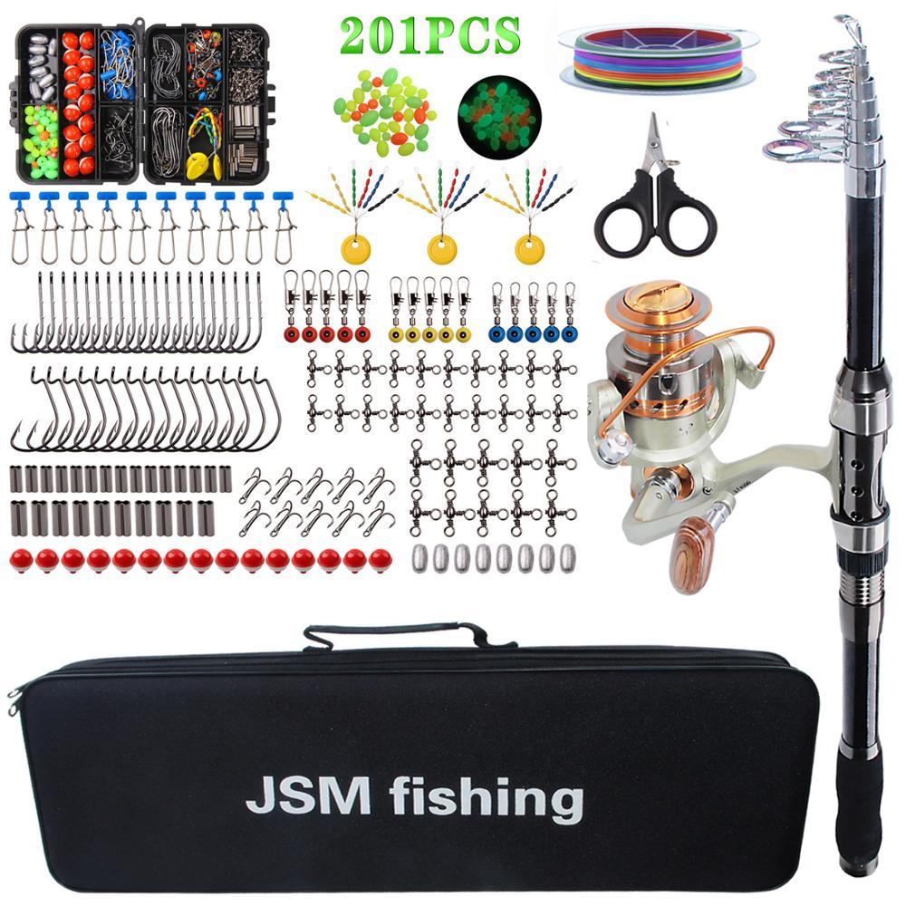 Canne à pêche avec Kit d'accessoires de pêche complet canne à pêche télescopique en fibre de carbone avec crochet de ligne