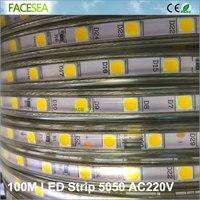 100 м AC 220 В SMD 5050 Гибкие светодиодные полосы света 60leds/m Водонепроницаемый Светодиодная лента теплые белый/белый с ЕС power plug
