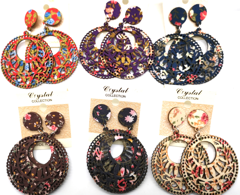 Fabric wooden earrings can mixed 6 colors