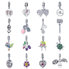 Silver 925 fit Pandora Bracelet Colorful Couple Birds Turtle Eggplant Charms Zircon Meteor Bow Heart Flower Beads Making Jewelry