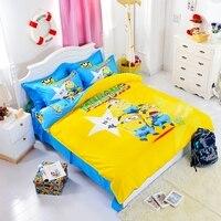 Textiles Para El hogar 3d Minions Cartoon Bedding Set Hello Kitty Cama conjunto para Los Niños/cabrito 4 unids Duvet Cover Set de Cama Hoja funda de almohada