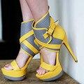 SHOFOO sapatos, moda modelos explosão de e-mail gratuito, cinza amarelo (puro preto, preto e branco PU), sandálias de salto alto. TAMANHO: 34-45