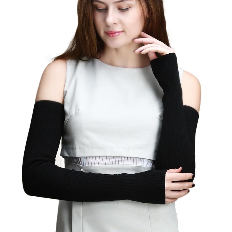 60cm Lengthen Women's Wool Arm Warmers Knitted Sleeve Solid Super Fine Long Fingerless Gloves Autumn Winter Wholesale Retail