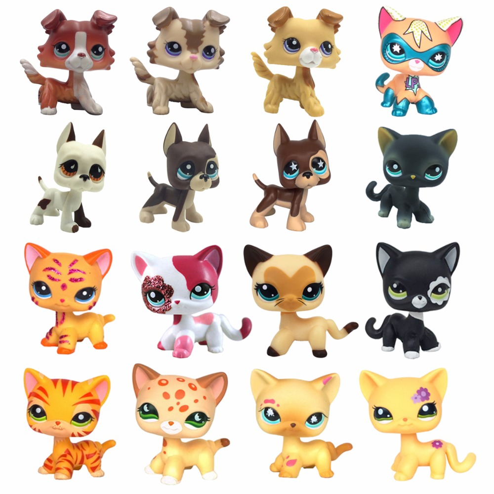 Real old Pet shop standing Short Hair cat cute animal toys lps dog original collections great dane collie free shipping